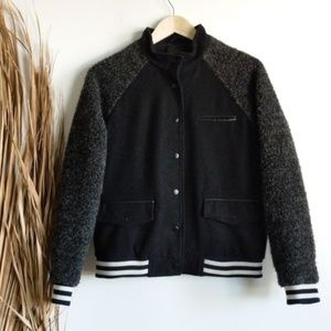 Forever 21 Jackets & Coats - Varsity Stripe Wool Fuzzy Bomber Jacket in Black